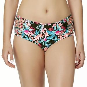 Bongo Swimsuit Bikini Bottom Mid Rise Floral NEW